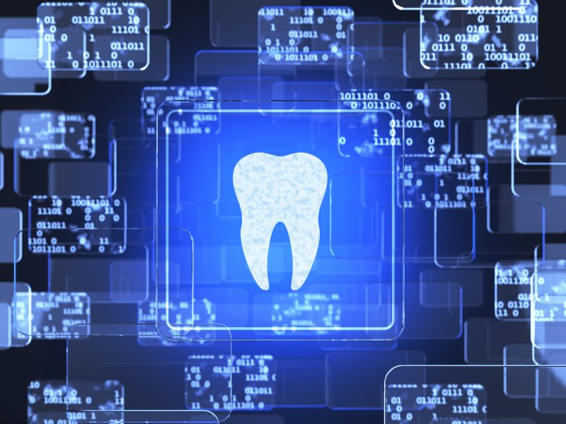 Tooth icon on computer screen